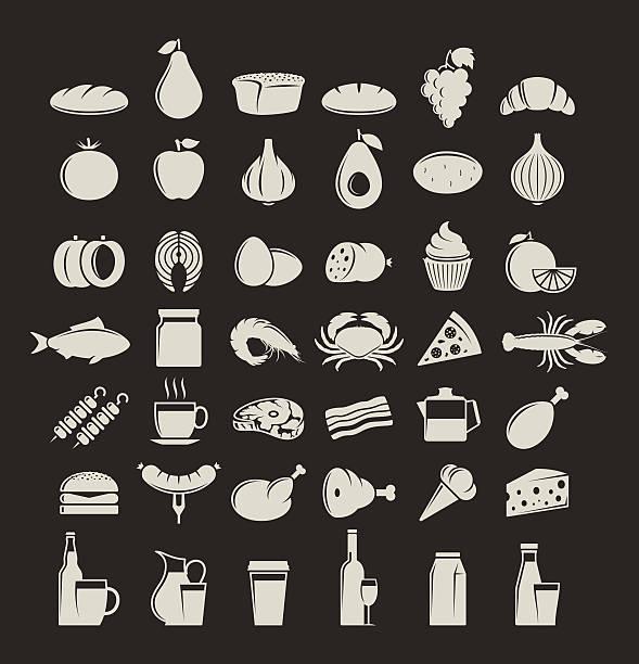vektor-icons satz für speisen und getränke - lachskuchen stock-grafiken, -clipart, -cartoons und -symbole