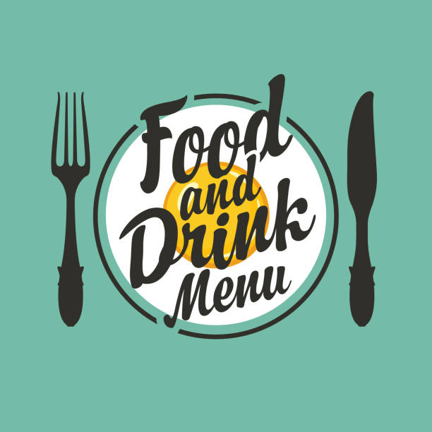 vector Food and drink menu with fork and knife Vector banner with fork, knife, fried egg on a circle plate and calligraphic inscription Food and drink menu on the green background in retro style. Lettering for menu design, flyers and posters. brunch stock illustrations