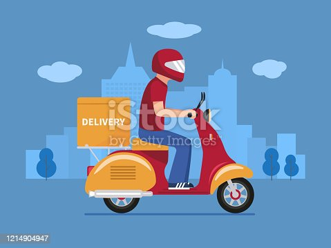 istock Vector food delivery man on a scooter 1214904947