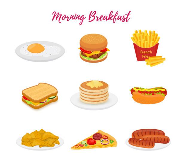 朝食用ベクターフード、レストラン用ブランチセット、メニュー - パンケーキ点のイラスト素材/クリップアート素材/マンガ素材/アイコン素材