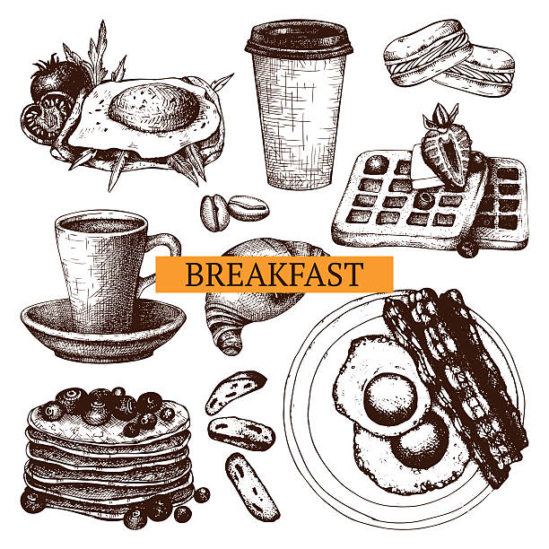 Vector food for breakfast menu. Vector collection different hand drawn food for breakfast menu. Vintage sketch set with food illustration isolated on white. pancake stock illustrations