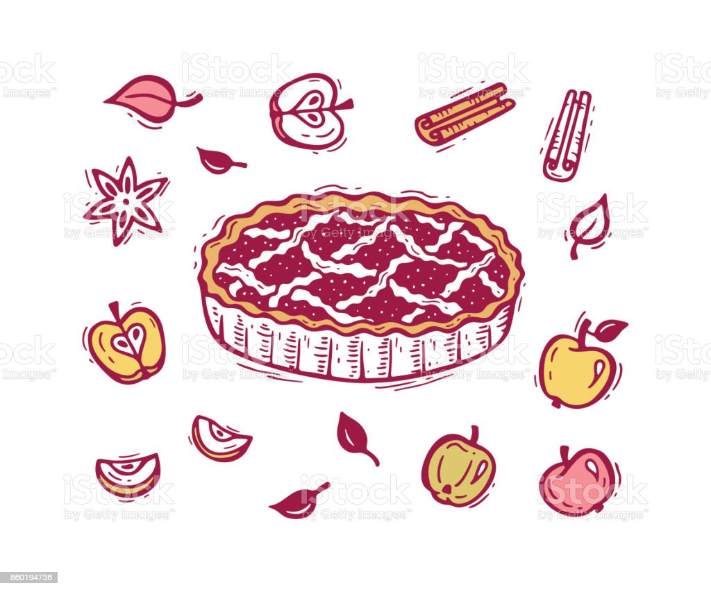 vector food hand drawn doodle apple pie fruits apples spices leaves