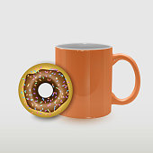 Food illustration of coffee cup and donut with chocolate sweet cream. Realistic design concept for cafe, restaurant, breakfast menu, desserts, bakery. Vector EPS 10 format