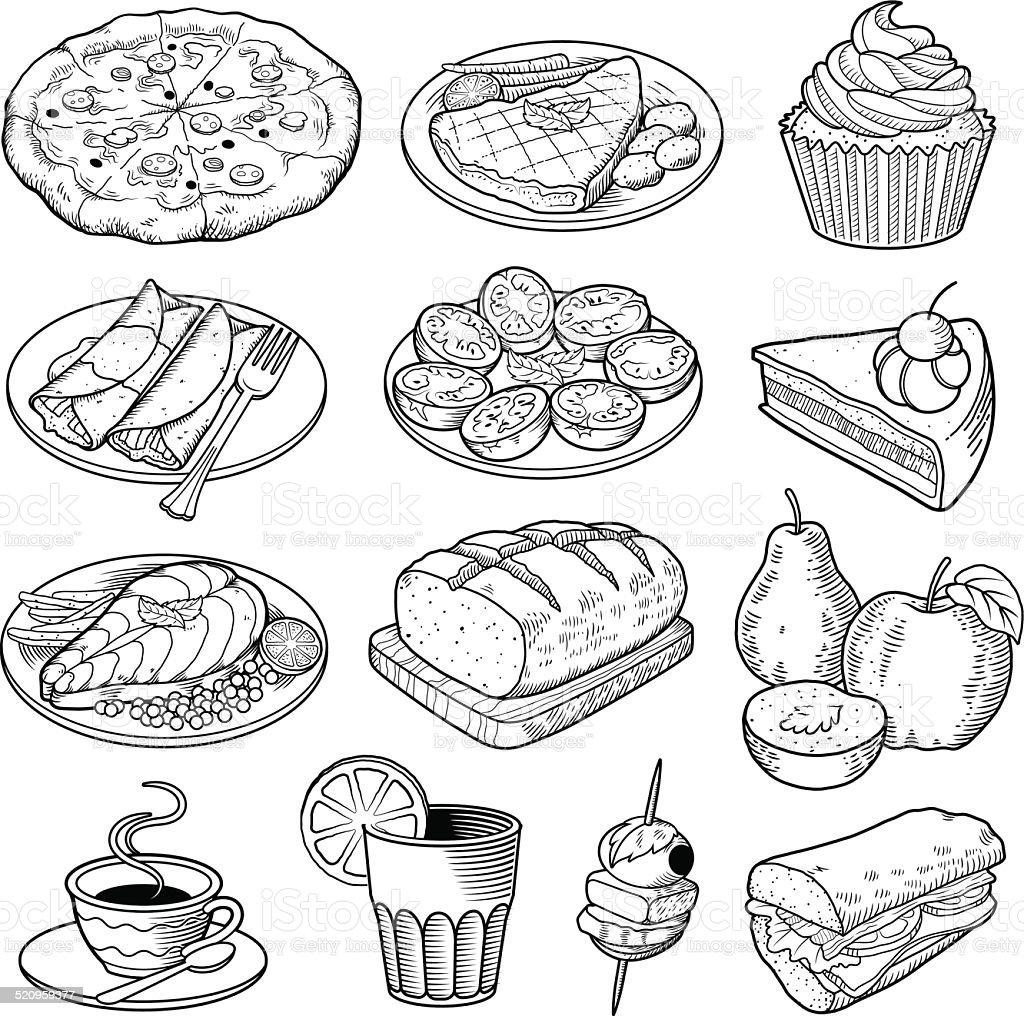 Vector Food Illustrations vector art illustration