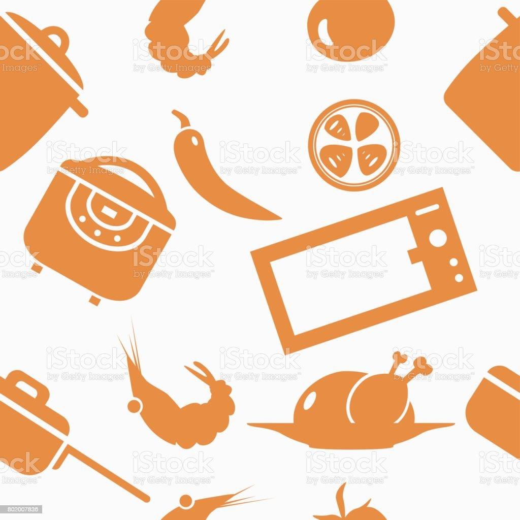 Vector food pattern vector art illustration