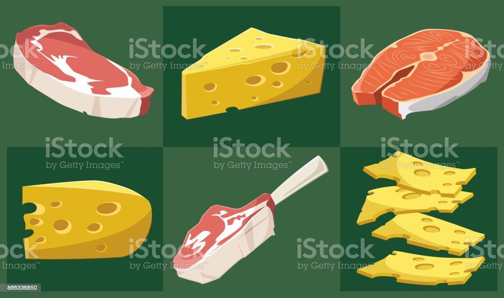 Vector conjunto de alimentos - ilustración de arte vectorial