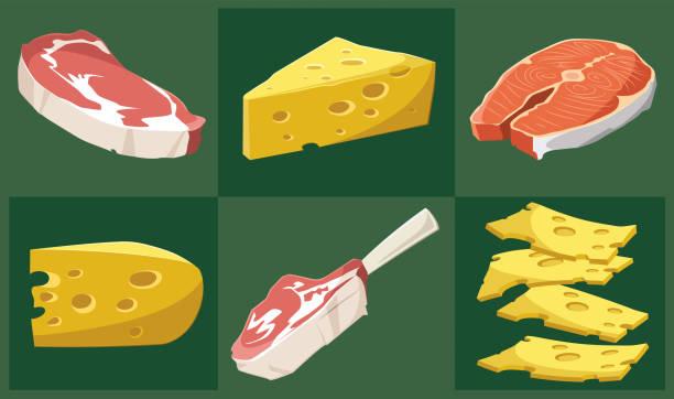 ilustrações, clipart, desenhos animados e ícones de conjunto de alimentos de vetor - alimento cru