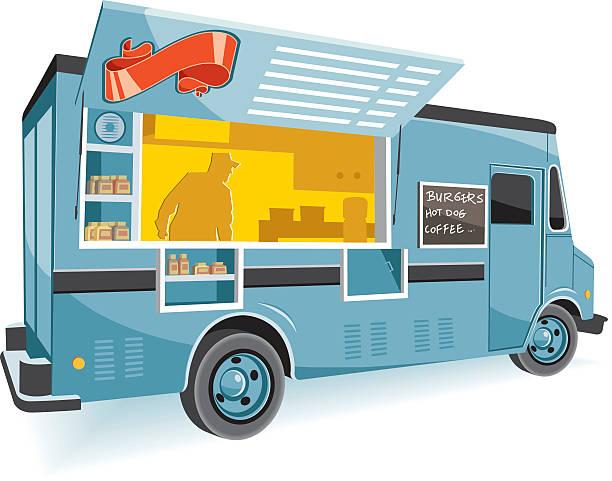 vektor-food truck - imbisswagen stock-grafiken, -clipart, -cartoons und -symbole