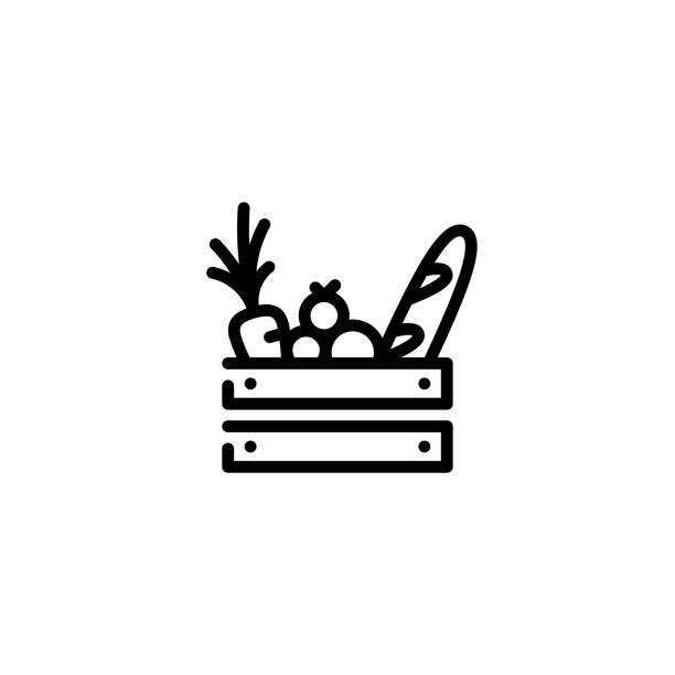 Vector Food Wooden Box Icon Vector food wooden box icon template. Line grocery logo background with organic fruits and vegetables. Farmers market wood crate illustration. Healthy natural product design concept fruit symbols stock illustrations
