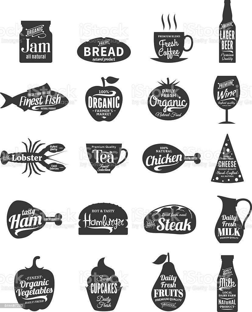 Vector foods and drink labels vector art illustration
