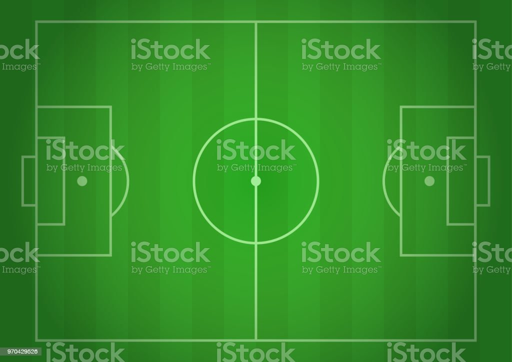 Vector Football Field Realistic Gradient Illustration Top View Design For Cards Brochures