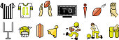 Vector icons/emojis related to football. Includes 14 different full color icons.