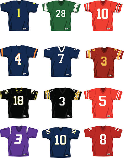 Vector Football Jerseys A collection of football jerseys in vector format.  There are no logos or trademarks on any of these and the colors can easliy be changes. american football uniform stock illustrations