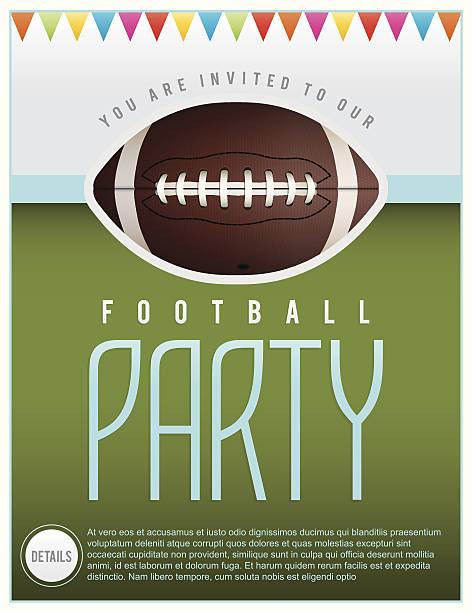 ilustrações de stock, clip art, desenhos animados e ícones de festa flyer ilustração de vetor de futebol - primeiro down futebol americano