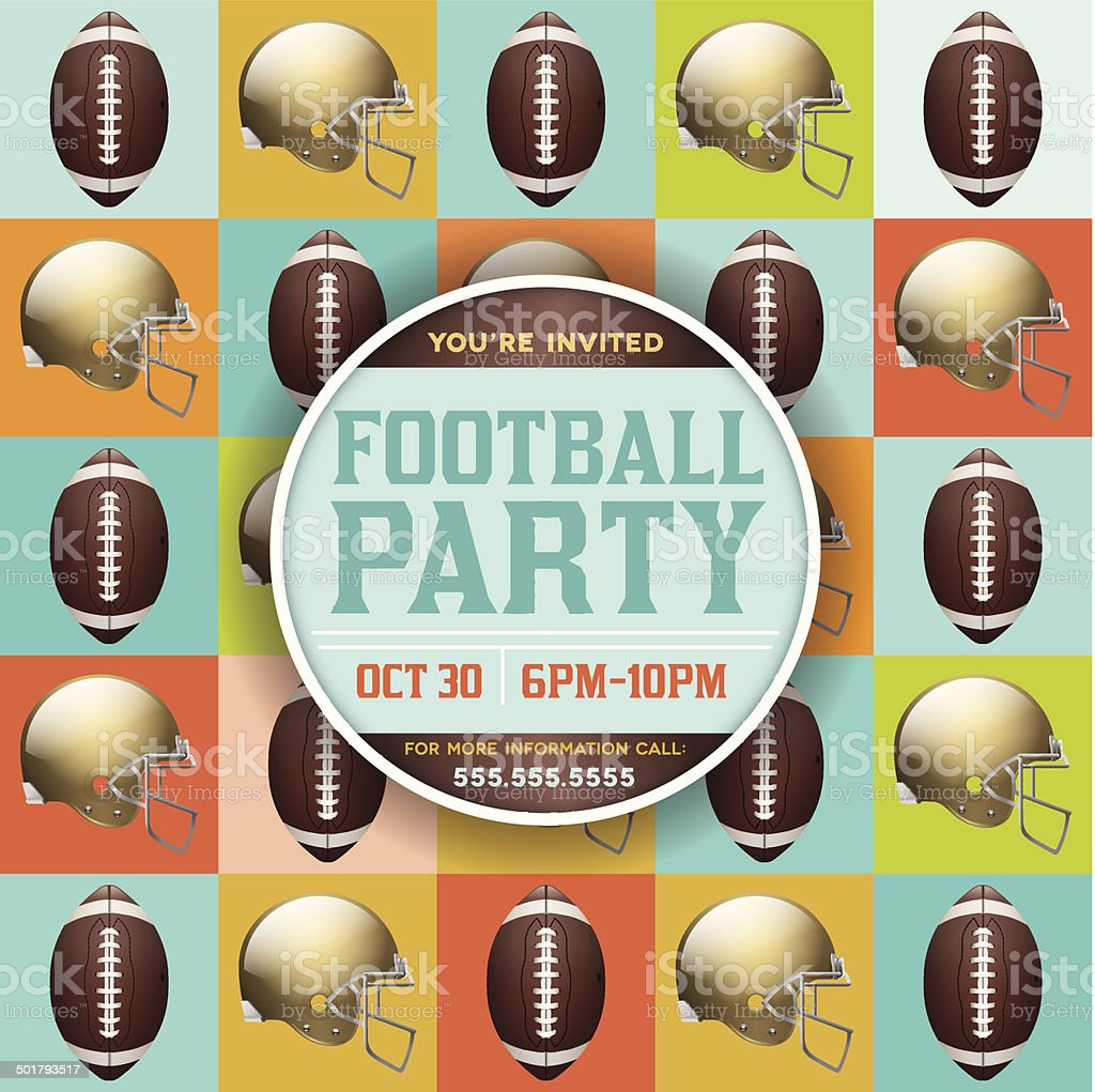 Vector Football Pattern Party Invitation royalty-free stock vector art