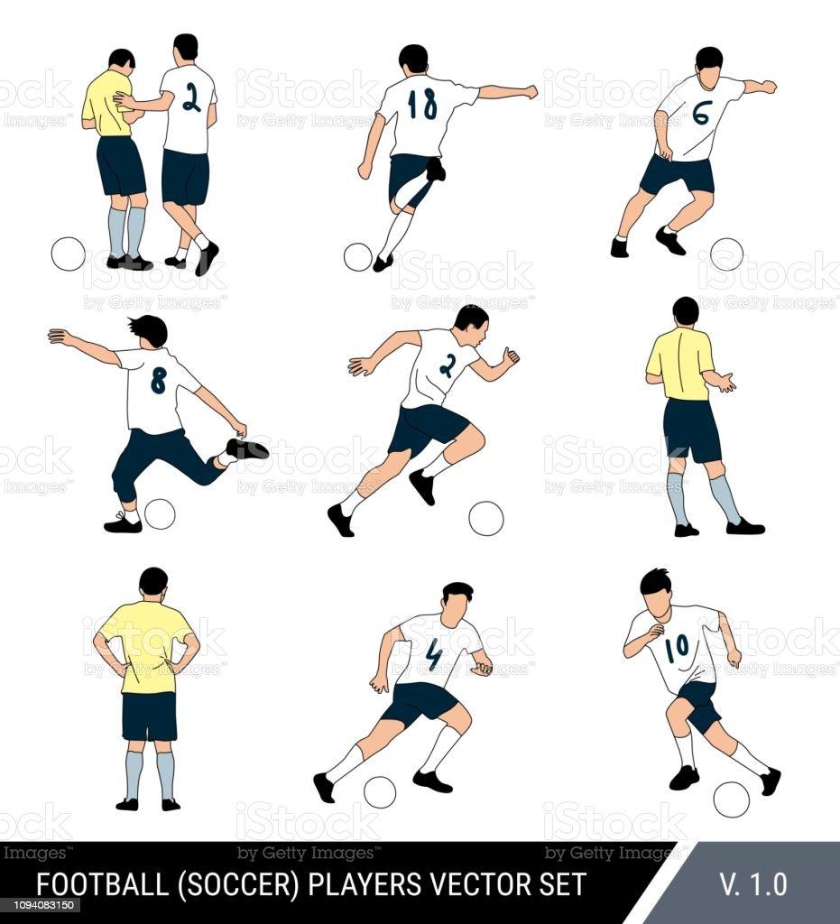 Figuras jogadores futebol vector, sobre fundo branco isolado. Árbitro e futebol jogadores com a bola. Poses diferentes, vector conjunto de jogadores. - ilustração de arte em vetor