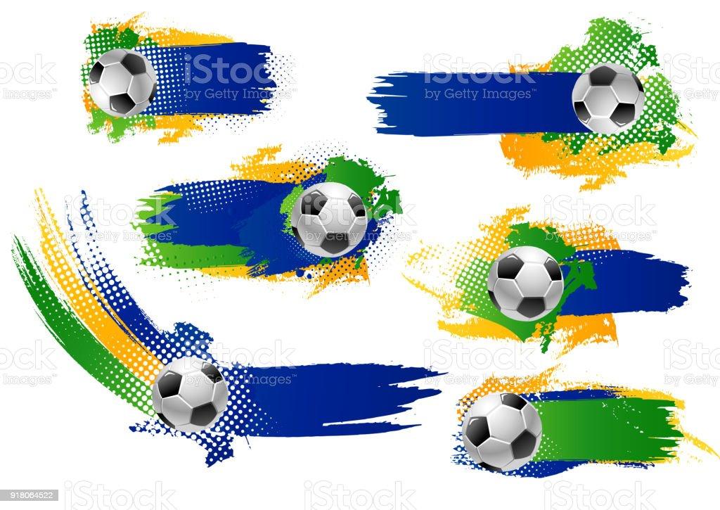 Vector football soccer ball icons or banners vector art illustration