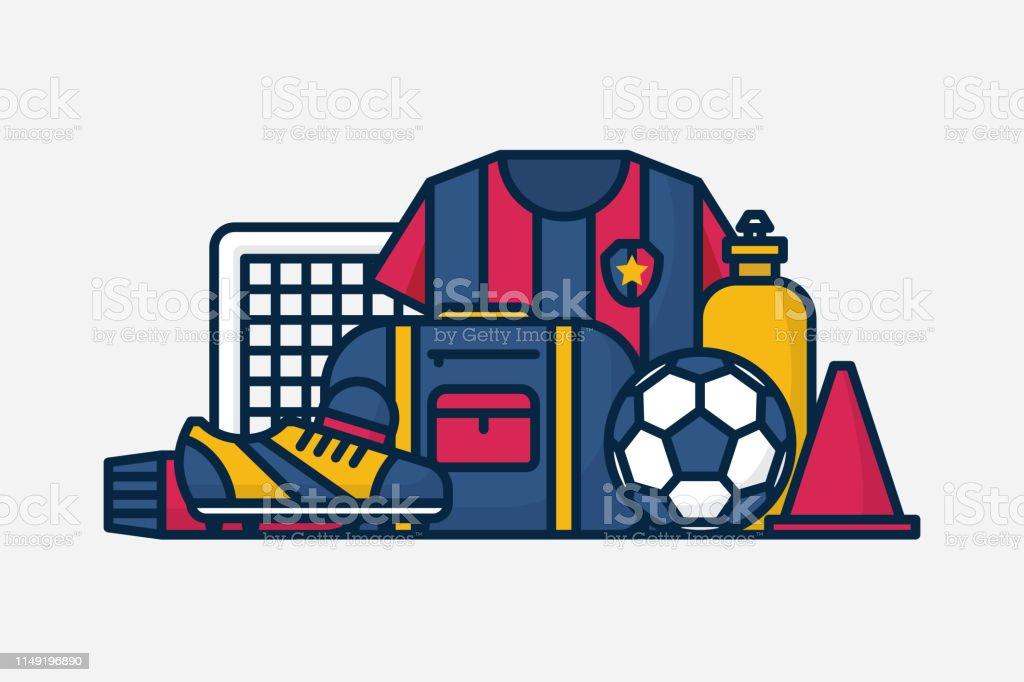 Vector Football / Soccer Equipment. Line Art Illustration