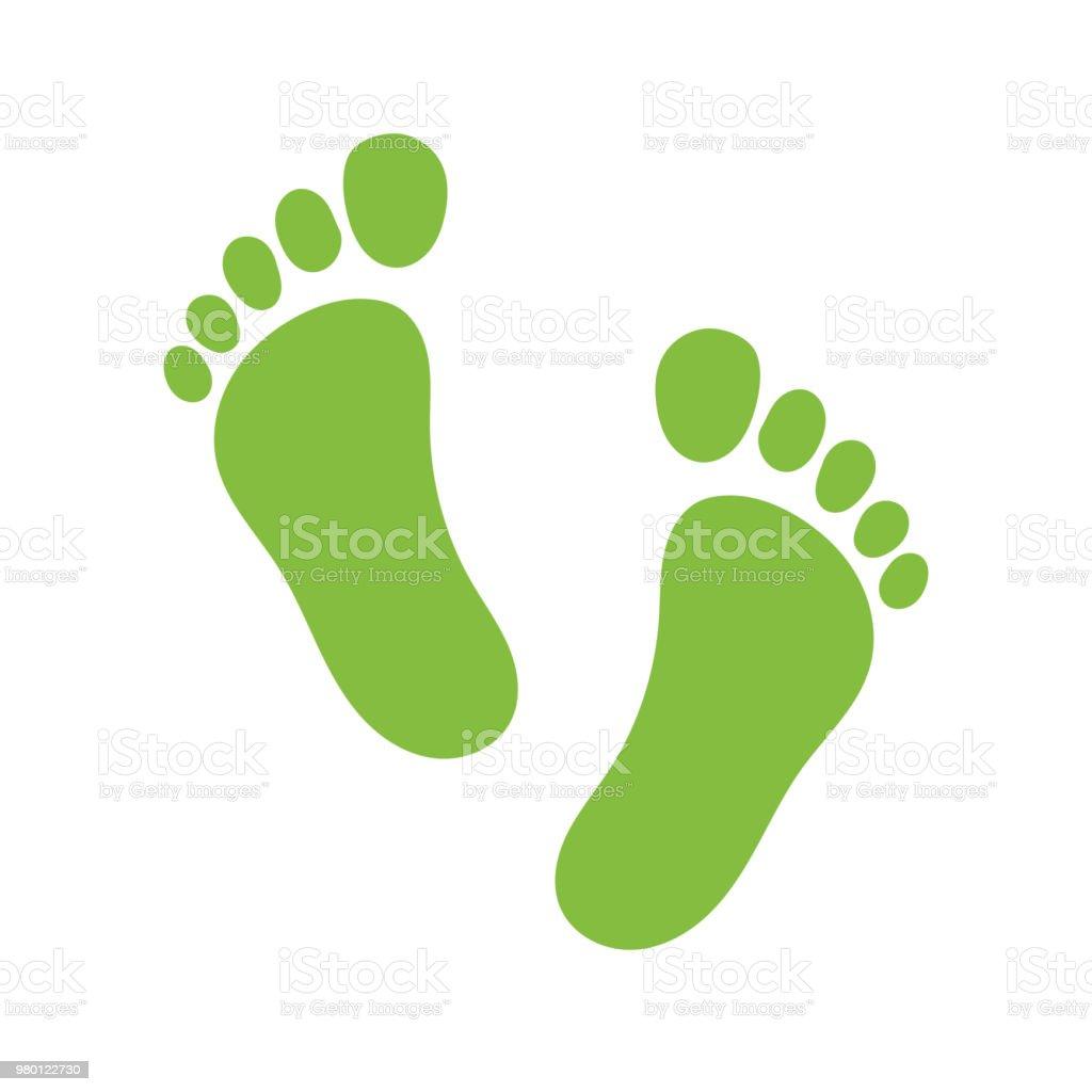 Vector footprint illustration - human foot print symbol, feet silhouette isolated flat illustration. vector art illustration