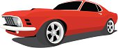 Vector Illustration of a 1970 Ford Mustang. Saved in layers for easy editing, also has 3 different wheel styles included in separate layers.