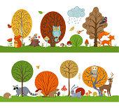 Hare, fox, beaver, squirrel, deer, raccoon, owl, hedgehog, mushrooms and flowers made in cartoon style. Autumn weather. Falling leaves.
