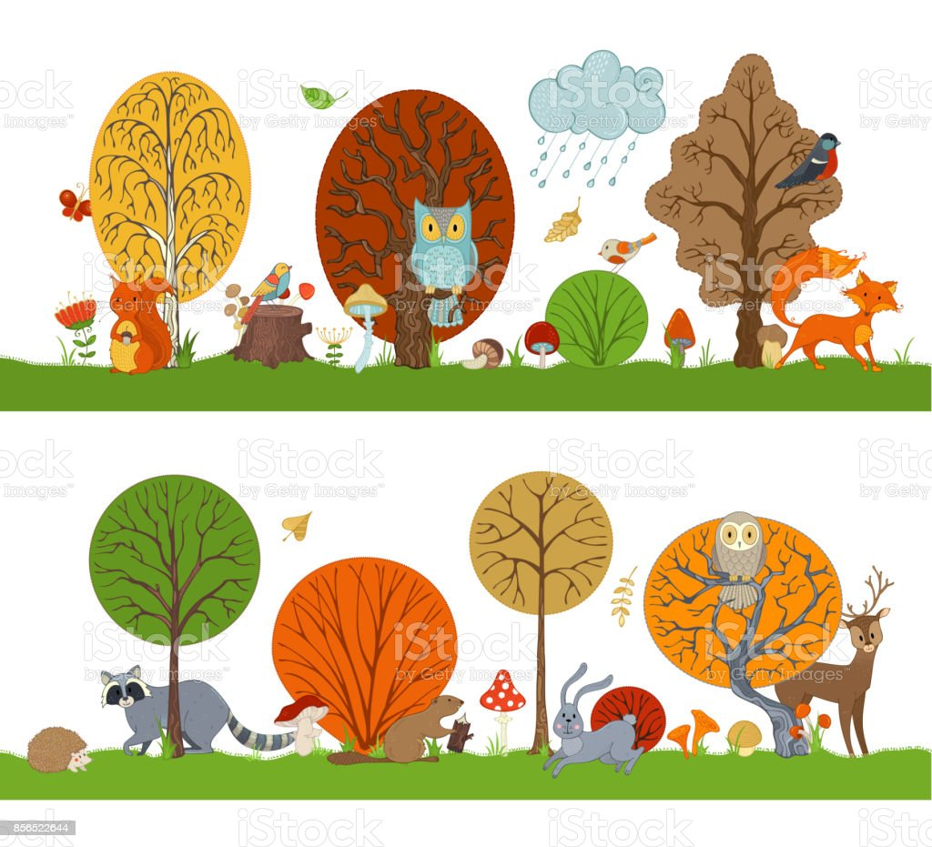 Vector forest set with autumn trees, cute animals and birds. vector art illustration