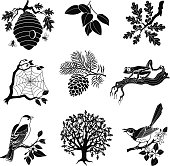 A vector illustration of a forest wildlife icon set in black and white. An EPS file and a large jpg are included in this download.