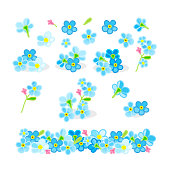 istock vector forget-me-not flowers set 1080802636