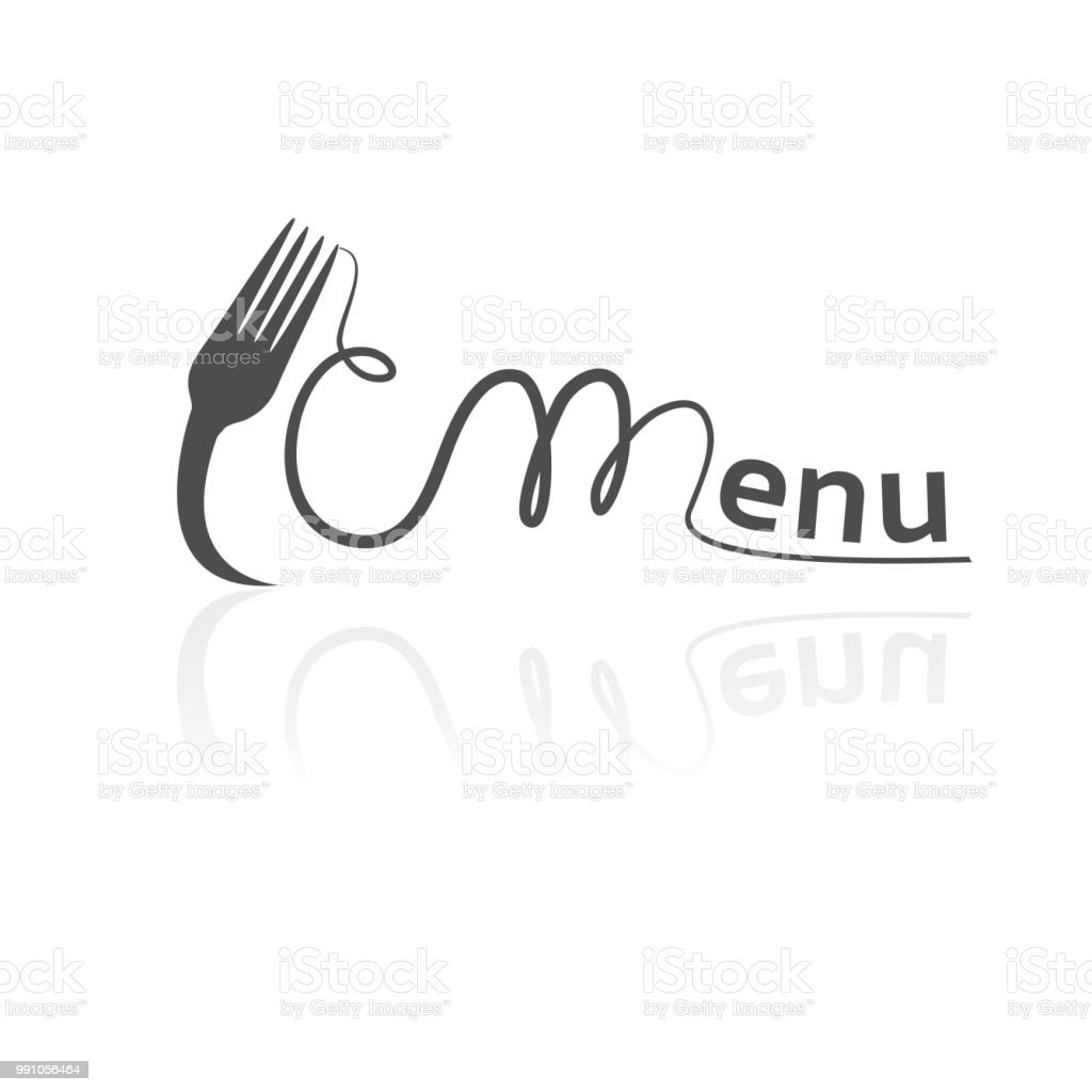 vector fork with spaghetti forming the word menu black symbol for