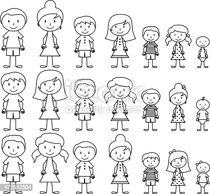 Vector Format Illustration Of Cute And Diverse Stick