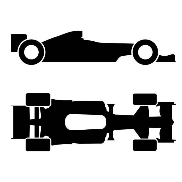 vector formula race car icon on white background - formula 1 stock illustrations