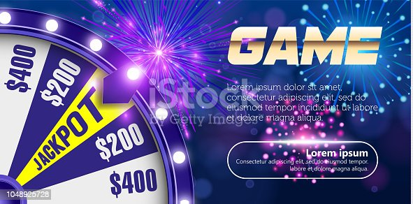 istock Vector fortune wheel, Online casino design concept. 3d object on abstract defocused circular blue bokeh background. Wheel of luck. Whill of fortune with game button. 1048925728
