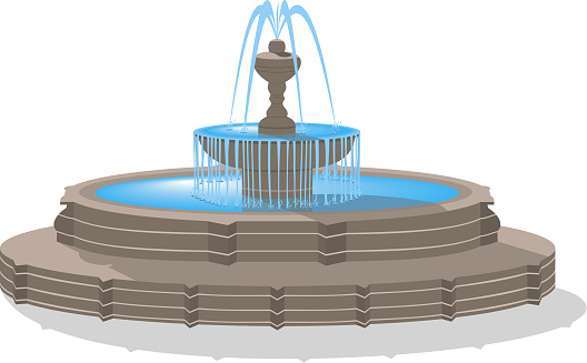 Vector fountain isolated on white background.