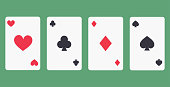 Game cards flat icon isolated on green background. Simple Game cards in flat style, vector illustration.