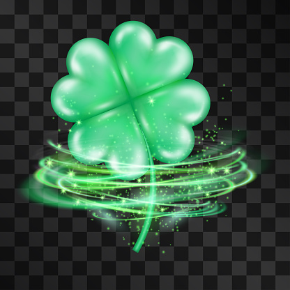 Vector four leaf clover quatrefoil 3d isolated on transparent background. International luck symbol. Saint Patrick's Irish festival traditional decoration. Glossy icon with magical shiny swirls around