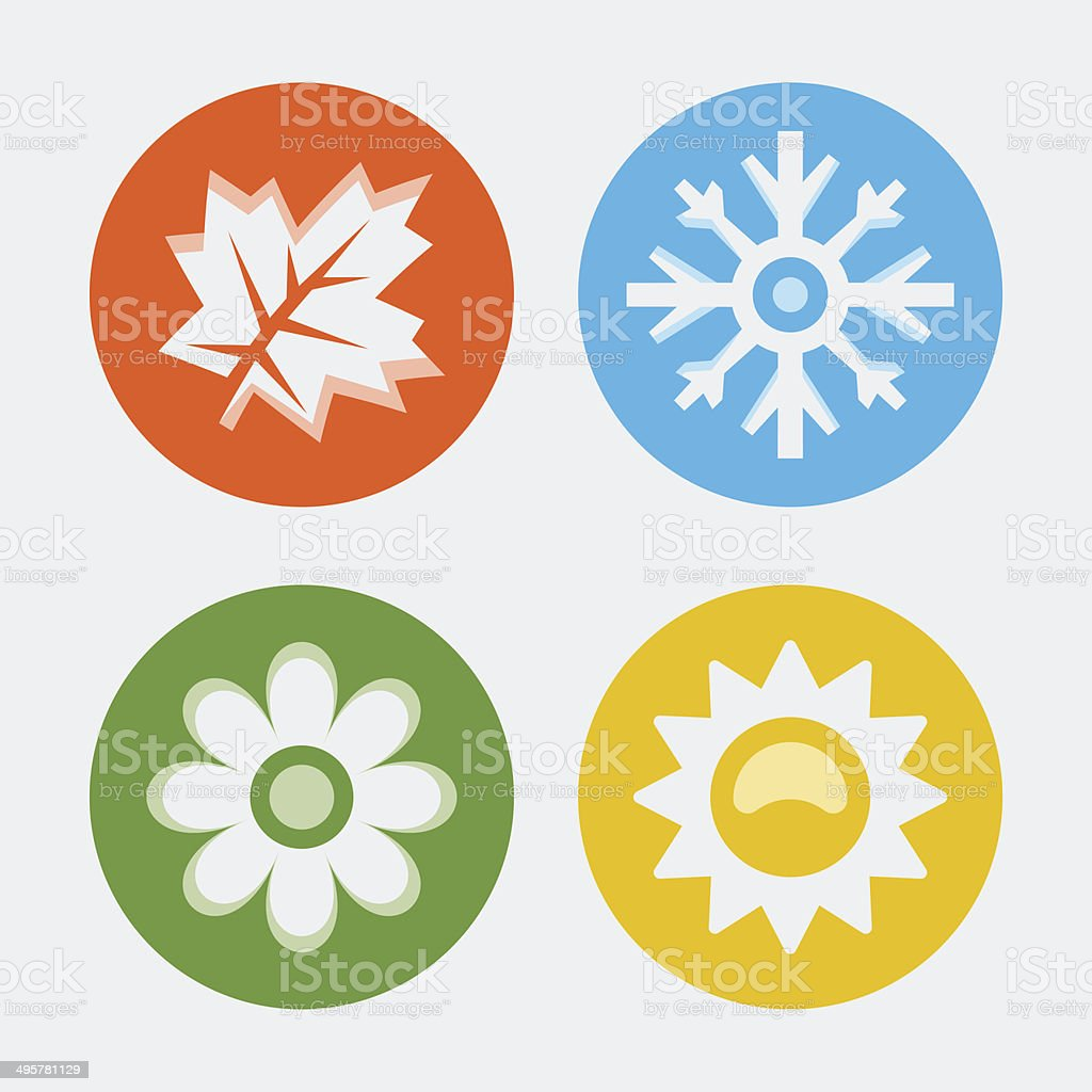 Vector four seasons icons set vector art illustration