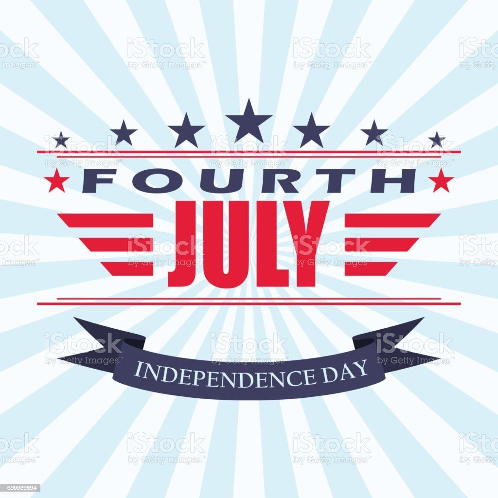 vector fourth of july background with stars and ribbon usa