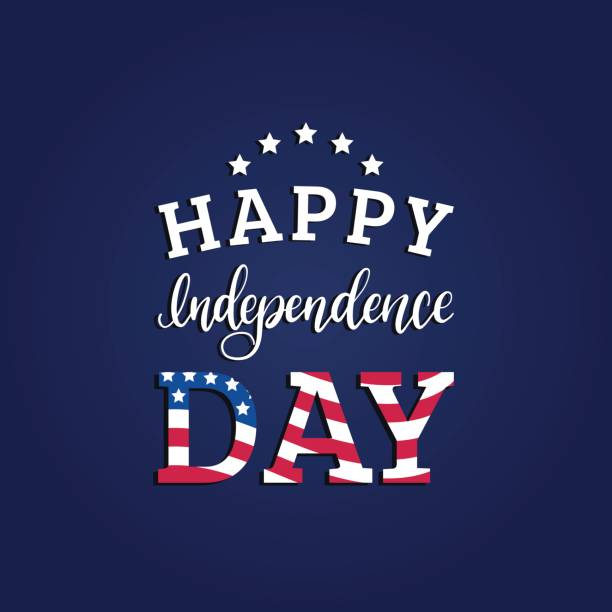 vector fourth of july hand lettering inscription for greeting card etc. happy independence day calligraphic background. - independence day stock illustrations
