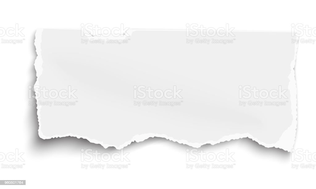 Vector fragment of white paper for memo with soft shadow isolated on white background vector art illustration