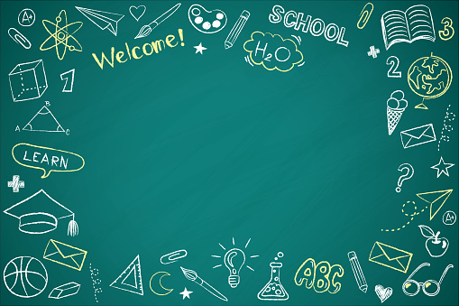 Vector frame back to school with education doodle icon symbols on green chalkboard. EPS10.