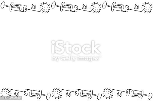 Vector frame, border on theme of vaccination. Contour molecules, coronavirus cells and a vaccine syringes. Horizontal top and bottom edging, decoration, background for medical design in doodle style