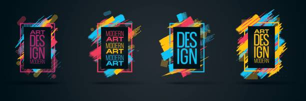 Vector frame for text Modern Art graphics for hipsters Vector frame for text Modern Art graphics for hipsters . dynamic frame stylish geometric black background with gold. element for design business cards, invitations, gift cards, flyers and brochures pacific dogwood stock illustrations