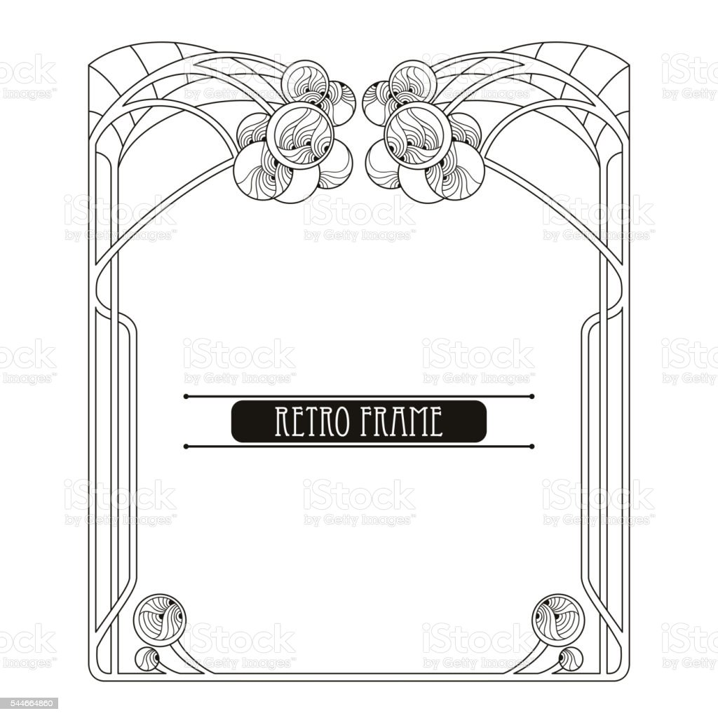Vector frame in Art Nouveau or Modern style isolated. - ilustración de arte vectorial