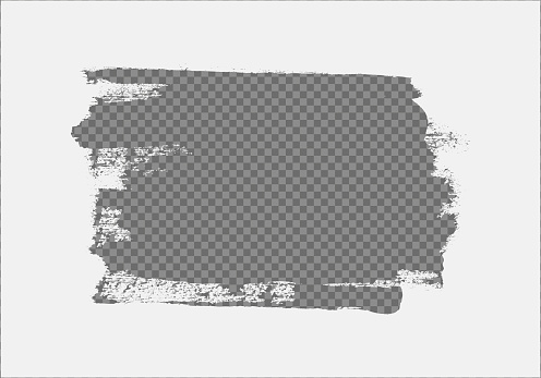 Vector frame made with brush strokes with copyspace on transparent background.