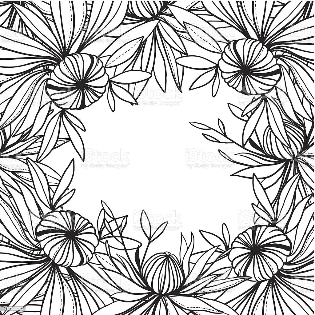 vector frame of abstract black white flowers and leaves royalty-free stock vector art