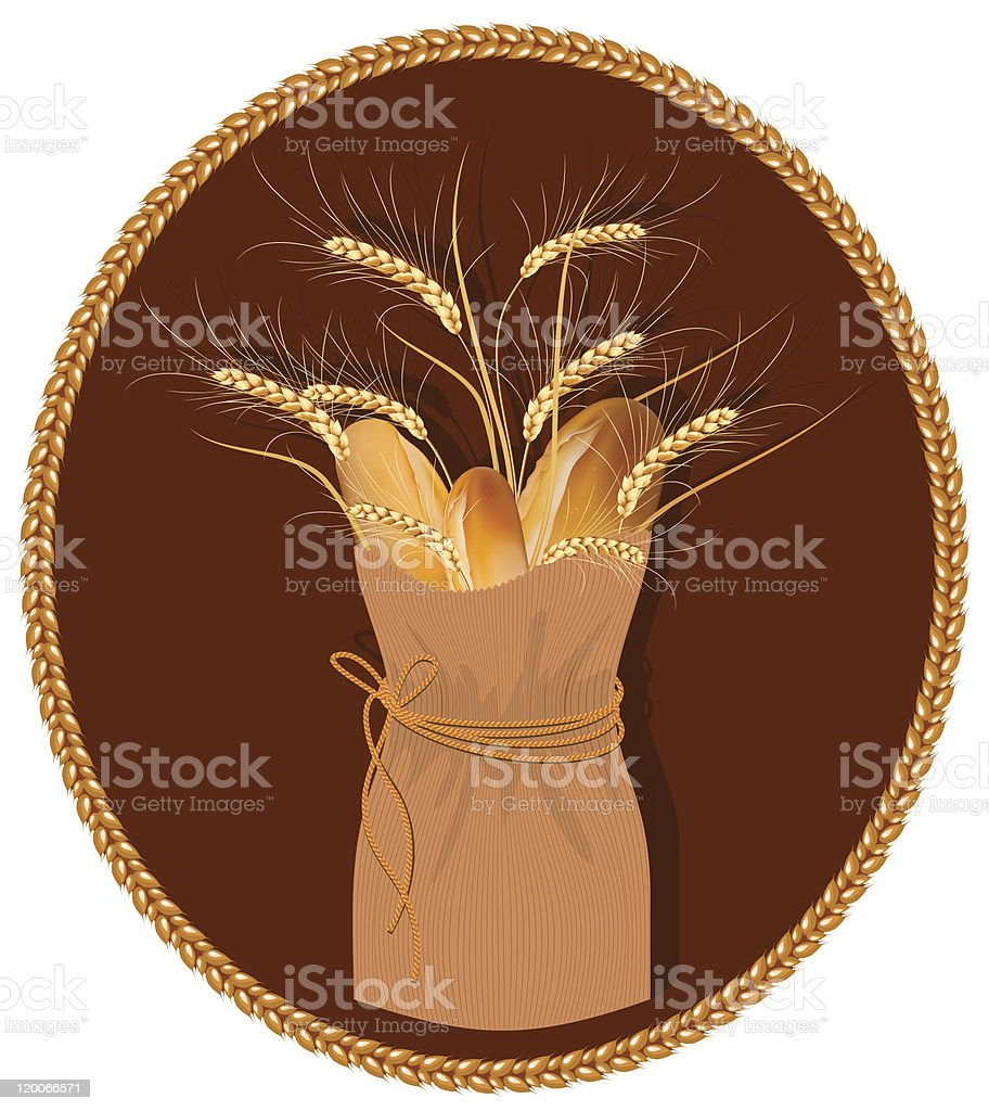 Vector frame. Paper bag with bread and wheat. royalty-free stock vector art