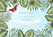 Vector frame template with tropical leaves and atlas moth on blue background. Horizontal layout card with place for text. Spring or summer design for invitation, wedding, party, promo events.