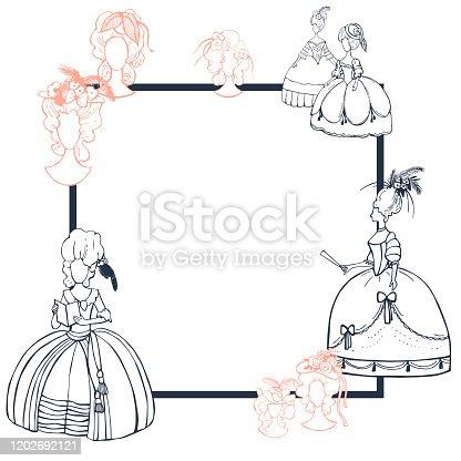 istock Vector frame  with  baroque women. 1202692121