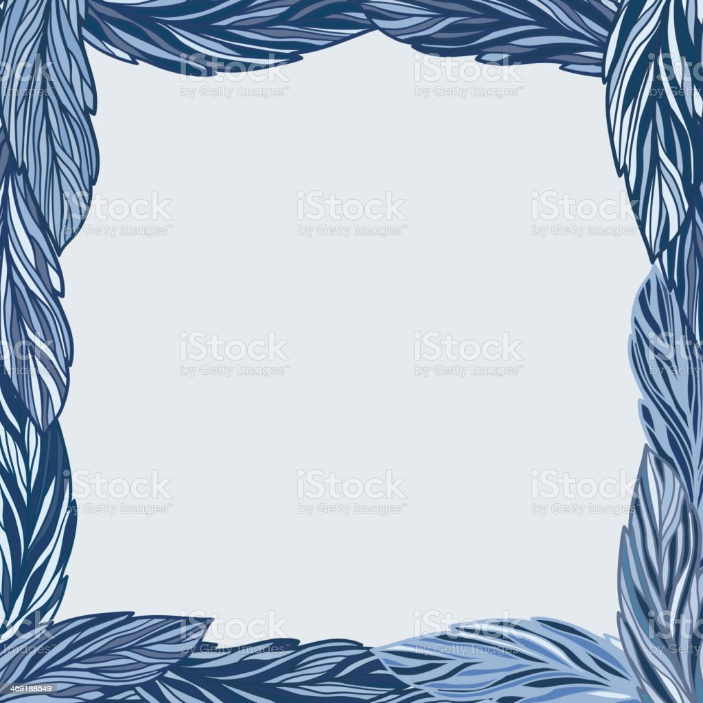 Vector frame with blue leaves royalty-free stock vector art