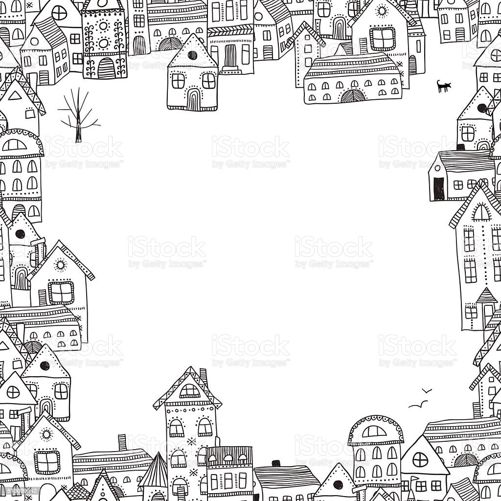 Vector frame with buildings for your text vector art illustration